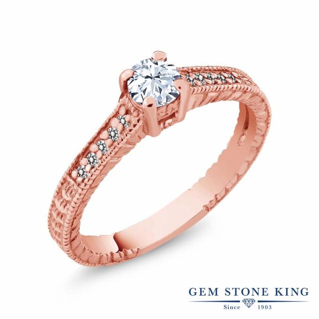 人気カラーの ダイヤモンド シルバー925 指輪 小粒 リング 0.45カラット マル トパーズ 細工 ピンクゴールドコーティング 天然 レディース (無色透明)-指輪・リング