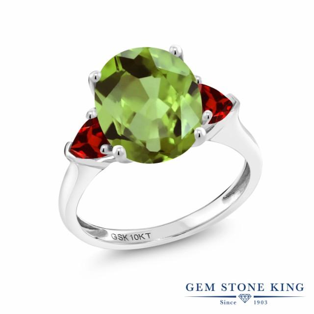 人気ブランドを 指輪 リング レディース 3.68カラット 天然石 ペリドット 天然 ガーネット オーバル ガーネット レディース 10金 ホワイトゴールド(K10) オーバル 3連 大粒 スリーストー, ヒガシヤツシログン:9171a1a0 --- chevron9.de