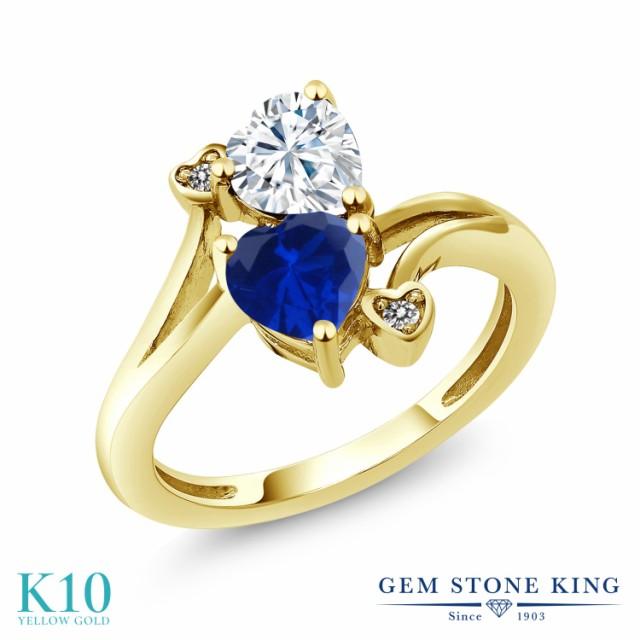 驚きの値段で Brilliant Forever 指輪 Colvard ダイヤモンド & モアサナイト Charles レディース 1.63カラット 10金 天然 リング イエ 合成サファイア-指輪・リング