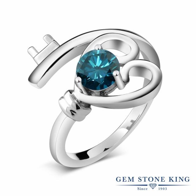 人気を誇る 指輪 リング レディース 0.55カラット 天然 ブルーダイヤモンド シルバー925 ハート キー 鍵 一粒 ブルー ダイヤ ソリティア 天然石 4月, ボンスポーツ 5334d3d2