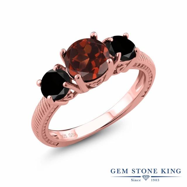 人気ショップ 指輪 リング レディース 2.6カラット 天然 ガーネット 天然ブラックダイヤモンド シルバー925 ピンクゴールドコーティング 3連 アラベス, コチ ワームス(CO-CHI warmth) 5df7096b