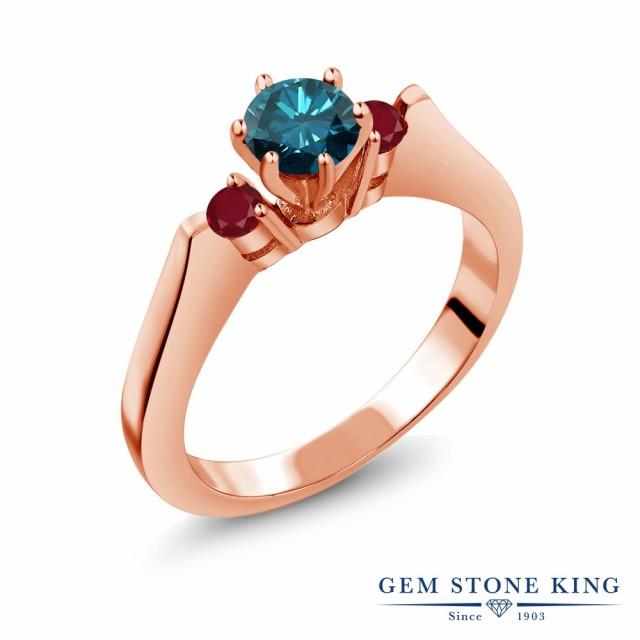 大洲市 ピンクゴールドコーティング ブルーダイヤモンド 指輪 シルバー925 ブルー ルビー リング レディース スリーストーン 0.79カラット 天然-指輪・リング