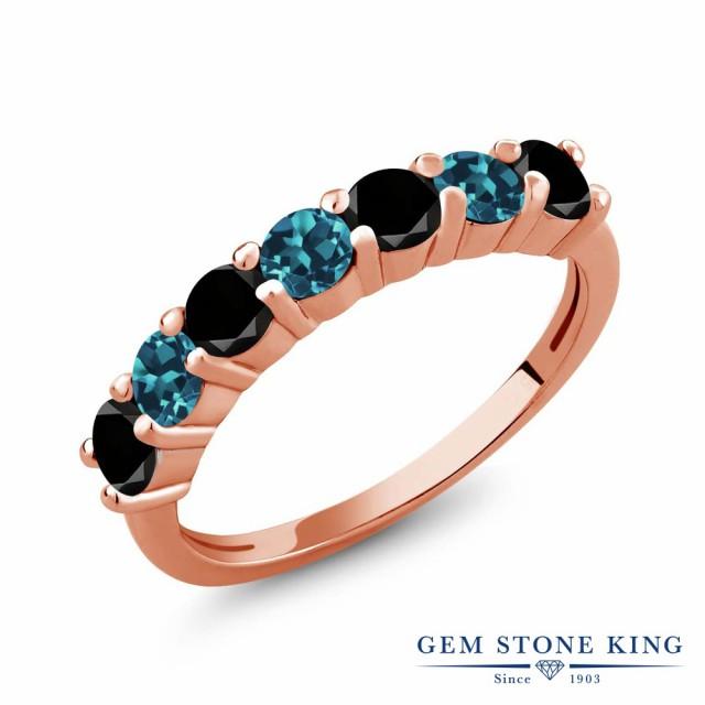 爆売り! シルバー925 指輪 ピンクゴールドコーティング レディース 天然ブラックダイヤモンド ロンドンブルートパーズ 天然 1.28カラット リング-指輪・リング