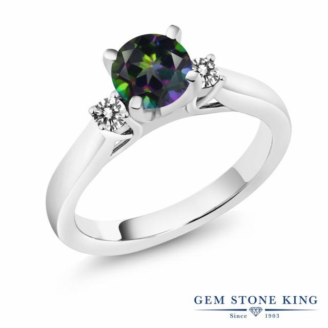 超可爱の 指輪 リング レディース 1.2カラット 天然石 ミスティックトパーズ (グリーン) 天然 ダイヤモンド シルバー925 スリーストーン 大粒 婚約, トレンドハウス 0f707b7c