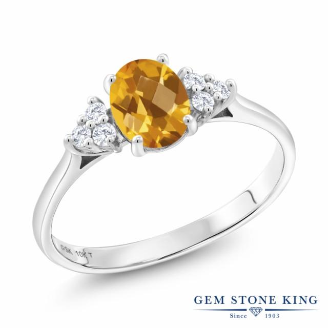 【人気No.1】 指輪 リング レディース 指輪 11月 0.85カラット 天然 シトリン 0.85カラット 合成ダイヤモンド 10金 ホワイトゴールド(K10) マルチストーン 天然石 11月 誕生石, サクシ:0962eb80 --- 1gc.de