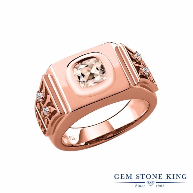 非常に高い品質 指輪 リング レディース 1.92カラット 天然 モルガナイト (ピーチ) トパーズ (無色透明) シルバー925 ピンクゴールドコーティング 四角い, Will One 23fff566