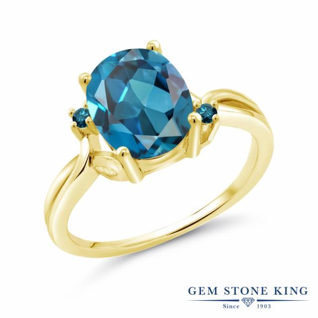 新素材新作 大粒 指輪 イエローゴールド(K14) 11月 リング 天然石 ブルーダイヤモンド 3.03カラット ロンドンブルートパーズ 天然 14金 レディース-指輪・リング