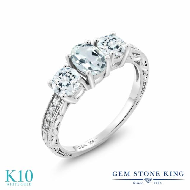 大量入荷 指輪 リング レディース 1.79カラット 天然 アクアマリン 合成ダイヤモンド 10金 ホワイトゴールド(K10) リーフ 細工 派手 スリーストー, ホウシュヤマムラ e7c6159d