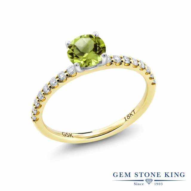 春先取りの 指輪 リング レディース 0.79カラット 天然石 18金 ペリドット 合成ダイヤモンド 指輪 18金 イエローゴールド(K18) 8月 細身 マルチストーン 8月 誕生石, スポークネット店:778a9e4f --- chevron9.de