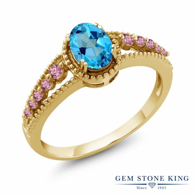 全商品オープニング価格! ミスティックトパーズ リング (アメリカンブルー) イエローゴ 合成ピンクダイヤモンド シルバー925 天然石 1.17カラット 指輪 レディース-指輪・リング