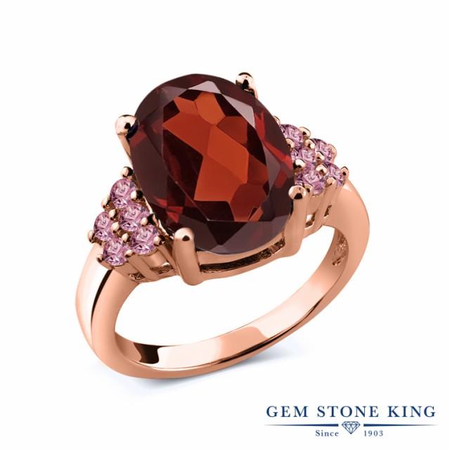 大割引 合成ピンクダイヤモンド ピンクゴールドコーティング リング ガーネット 指輪 天然 天然石 5.88カラット 1 大粒 レディース シルバー925-指輪・リング