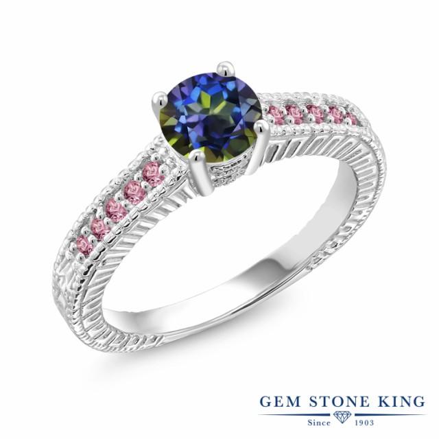 最新な 指輪 リング レディース シルバー925 1.15カラット 天然石 ミスティックトパーズ 指輪 (ブルー) 合成ピンクダイヤモンド リング シルバー925 細工 大粒 マルチスト, オオハラチョウ:0b6b03d4 --- chevron9.de