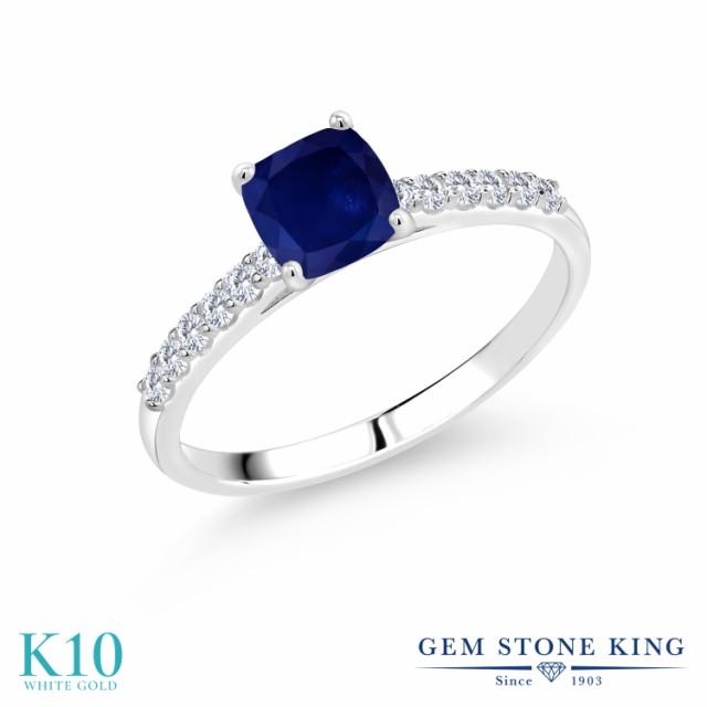 独創的 指輪 リング レディース 1.48カラット 天然 サファイア 合成ダイヤモンド 10金 ホワイトゴールド(K10) 四角い パヴェ 大粒 マルチストー, 富士販 9ba94af2