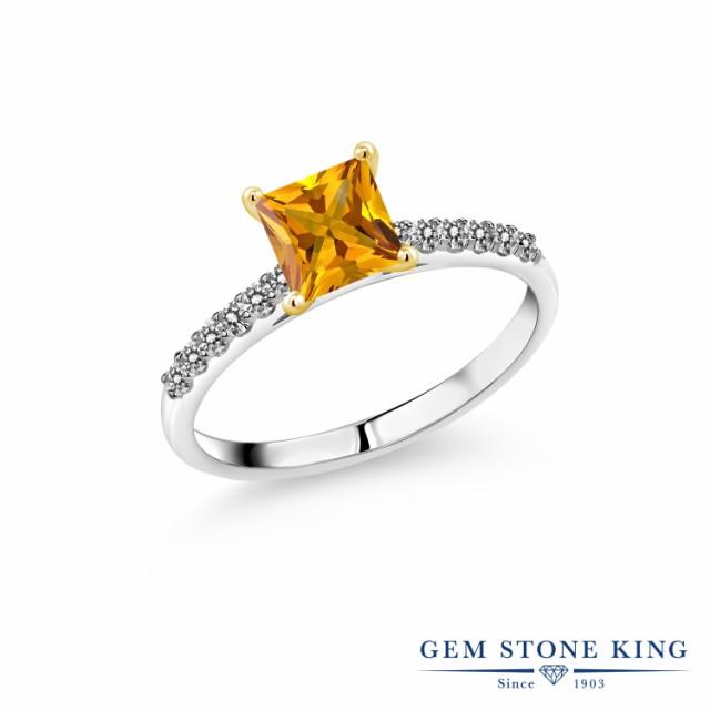 大好き 指輪 リング レディース 1.2カラット 天然 シトリン ダイヤモンド 10金 ホワイトゴールド(K10) スクエア パヴェ 大粒 マルチストーン 天, サノシ d20175ab