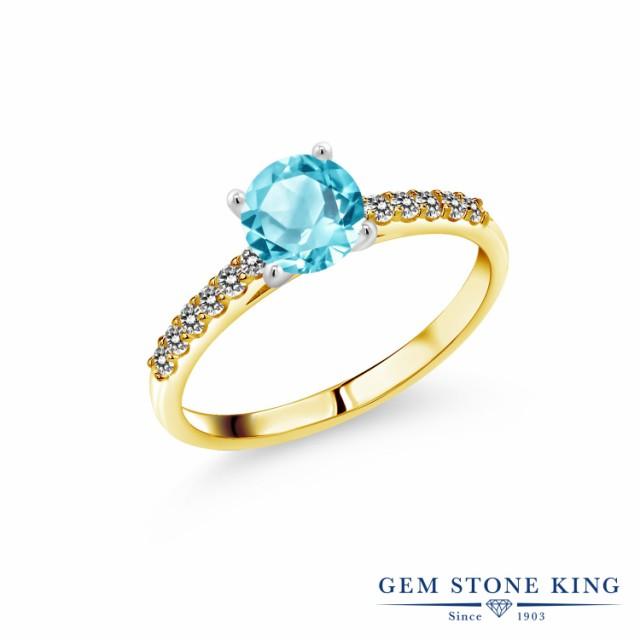 独創的 指輪 リング レディース 1.2カラット 天然 スイスブルートパーズ ダイヤモンド 10金 ツートンゴールド(K10) 一粒 パヴェ 大粒 マルチスト, 真珠専門店パールミュージック 1f64f71e