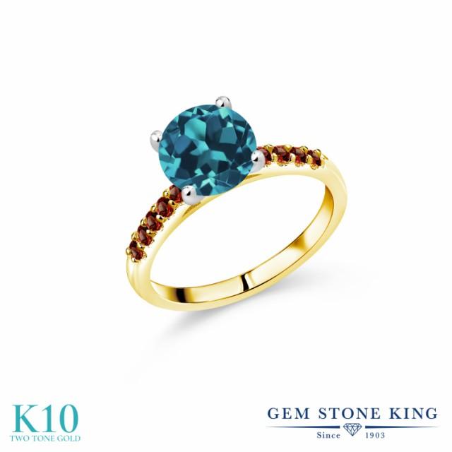 買い誠実 指輪 リング レディース 2.98カラット 天然 ロンドンブルートパーズ ガーネット 10金 ツートンゴールド(K10) 一粒 パヴェ 大粒 マルチス, M-TONY f057673d