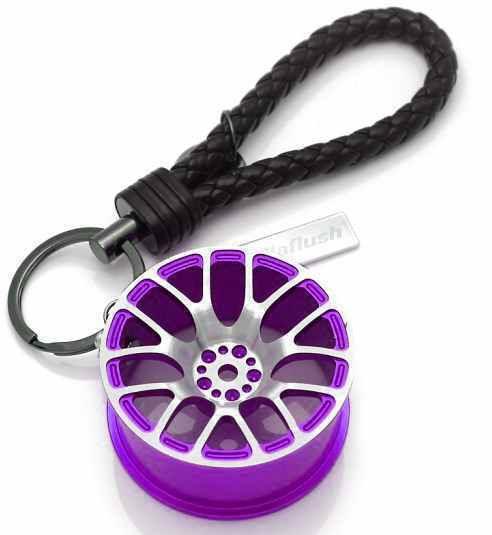 車好き必見 メッシュ ホイール型 キーホルダー [パープル] メタリック 革製ストラップ ルームミラーにぶら下げ 激シブ 送料無料