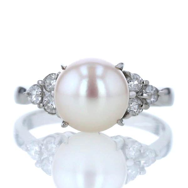 本物保証!  Pt900 プラチナ リング 真珠 パール 8.9mm ダイヤモンド 0.30ct シンプル デザイン 指輪 14.5号【新品仕上済】【af】【】, プロ用ヘアケア&コスメ リヤン f2f6b843