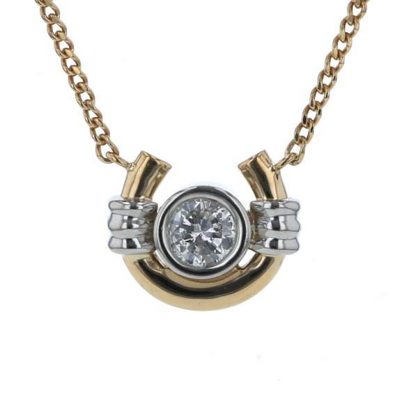 満点の ダイヤモンド K18YG 馬蹄 一粒石 シンプル 0.24ct コンビ ホースシュー プラチナ 41cm【新品仕上済】【el】【中 イエローゴールド Pt900-ネックレス