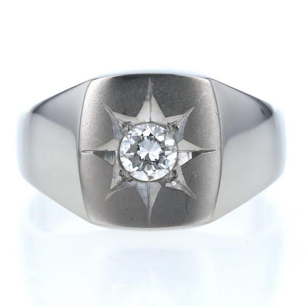 予約販売 Pt900 プラチナ リング ダイヤモンド 0.369ct 一粒石 三味型 印台 五光 後光留め 幅広 メンズ 指輪 19号【新品仕上済】【af】【】, イイシグン 844efec8