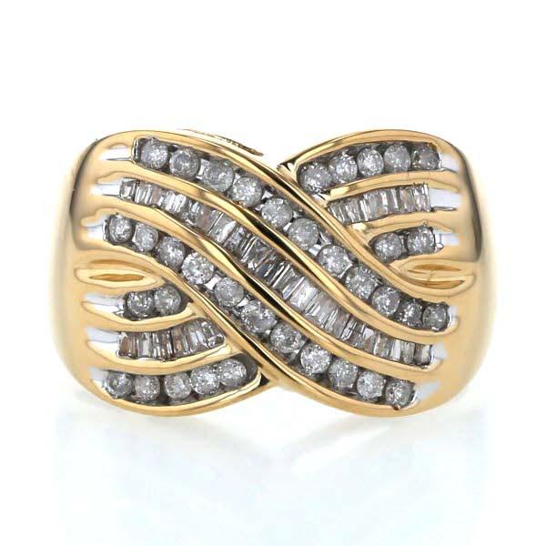 完璧 K18YG イエローゴールド リング ダイヤモンド 1.00ct パヴェ ウェーブ 交差 クロス 幅広 指輪 15号【新品仕上済】【el】【】, スリッパ Online Shop 82cdf52f