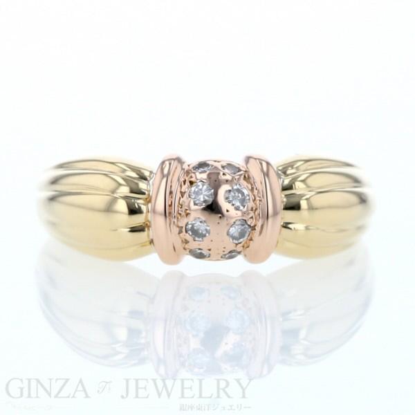 【オープニング大セール】 大特価品 K18 イエローゴールド K18 ピンクゴールド ダイヤモンド ダイヤモンド 0.13ct リング コンビ 14.5号 リボン デザイン 14.5号 レディース 指輪【新品仕上, GlassGallery Is:1dc112a0 --- nak-bezirk-wiesbaden.de