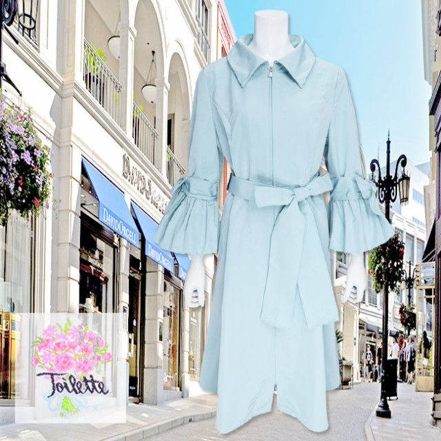 新しい到着 カラー:ブルー 日本製 袖口のリボン&バルーンモチーフ、リボンベルトが可愛い コート AL3070275 Toilette(トワレ)-アウター