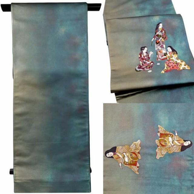 2019年最新入荷 セミフォーマル 刺しゅう 西陣織 おび 結婚式 踊り 青色系 単品 袋帯 未仕立て 引箔 N2085 きもの【メー 正絹 パーティー 訪問着 日本製-和装・和服