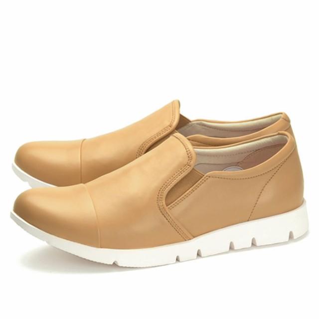 フィットジョイ FITJOY FJ,023 ベージュ スニーカー レディース ウォーキングシューズ 軽量 レザーシューズ シープスキン 旅行用 靴
