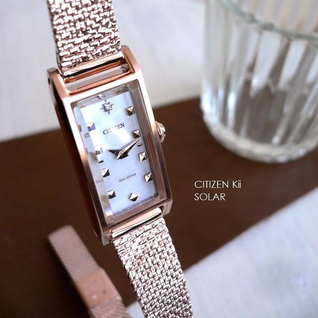 【在庫あり/即出荷可】 キー ダイヤモンド/白蝶貝/ホワイト CITIZEN EG7045-54W 腕時計 シチズン Kii ノベルティ アンティークデザイン メッシュバンド ソーラー-腕時計レディース