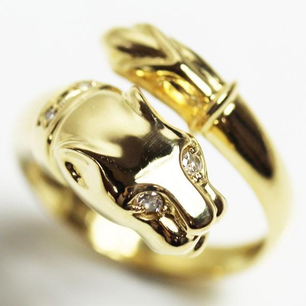 【保障できる】 【MR2400】K18 指輪 パンサーモチーフリング 5.5g リングサイズ12~14号 フリーサイズ アニマル ダイヤ0.05ct【】【質屋出品】, 河浦町 5606b598