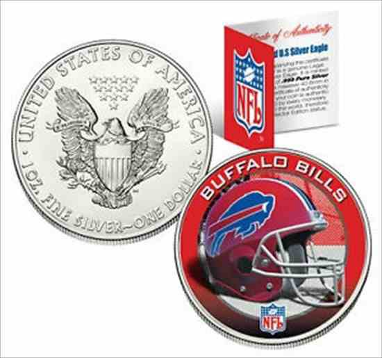 最高品質の 金貨 銀貨 硬貨 シルバー ゴールド アンティークコイン BUFFALO BILLS 1 Oz American Silver Eagle $ 1 US Coin Colorized NFL LICENSED, インテリアショップドリームランド 5a968bf7
