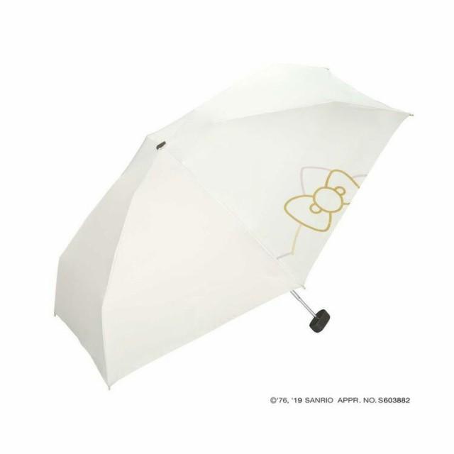 Wpc. 晴雨兼用 折りたたみ傘 日傘 HELLO KITTY(ハローキティ) リボンプリント オフホワイト 【サンリオ 遮光 遮蔽 99.99%以上 レディー