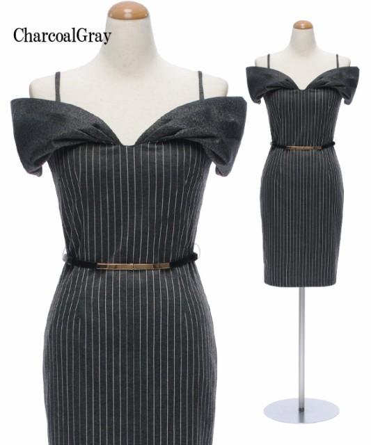 1d23f94473687  2サイズ ベルト付き ピンストライプ ワイドVネック ストレッチ ワンピース ドレス   パーティー