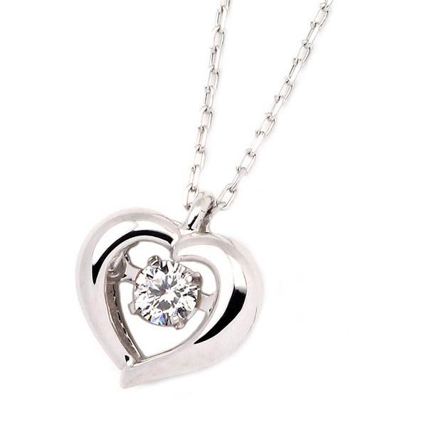 最高の品質の K18ホワイトゴールド 天然ダイヤモンドネックレス ダンシングストーン ダイヤモンドスウィングネックレス ダイヤ0.08ct ハートモチーフ, ファッションG 5fb57304