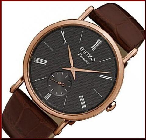逆輸入 SEIKO/セイコー【Premier/プルミエ】メンズ腕時計 ピンクゴールドケース ブラウンレザーベルト ブラック文字盤【海外モデル】SRK040P1, 八郷町 8a8856f9