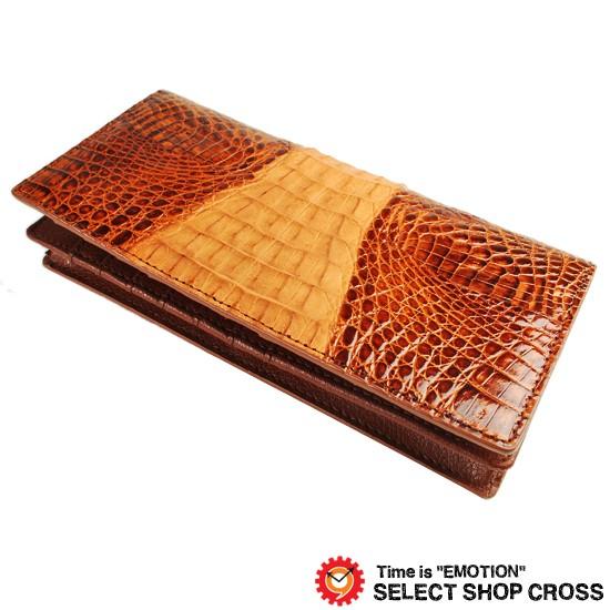 b0b030d34bfc 高級天然皮革 長札/長財布 ワニ革 クロコダイル Crocodile Brown ブラウン CJN0474BNTSP