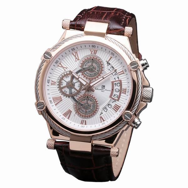愛用  SalvatoreMarra 腕時計 サルバトーレマーラ クロノグラフ 革ベルト メンズ腕時計, スポンジ雑貨店 76bbb33f