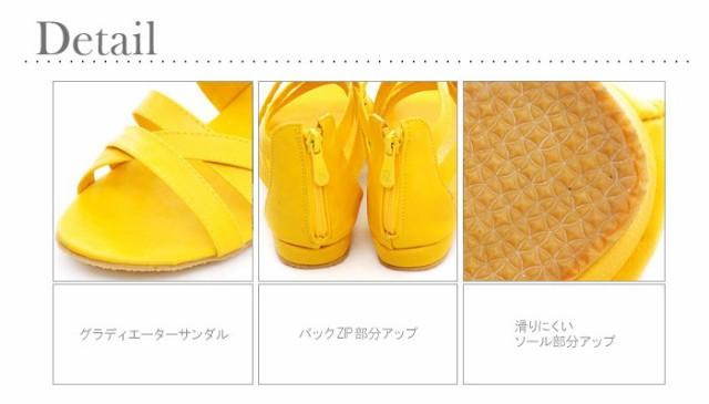 大きいサイズ レディース 靴 サンダル【22~26.5cm】グラディエーター ぺたんこ バックZIP wz-ss-sd1078