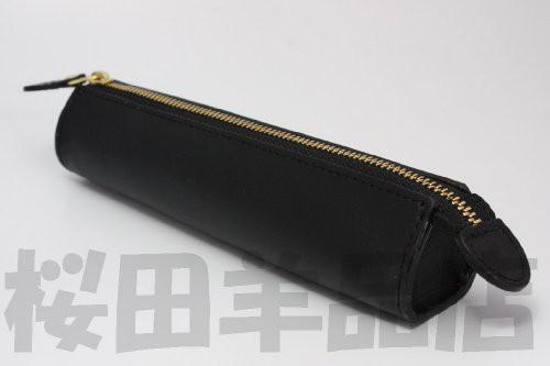 イタリアン本革レザー ペンケース(筆箱) (ブラック(ネロ))
