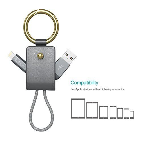 dodocool 2イン1 ライトニング USBケーブル キーホルダー付き [アップル MFi 認定] 0.51ft iPhone iPad iPod (ダークグレー)