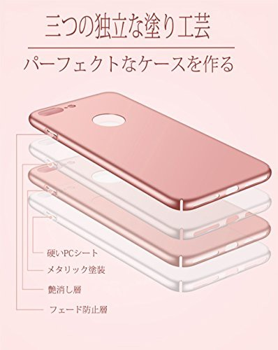 PauTtion iPhone 7 Plus ケース iPhone 7 Plus カバー 360°全面保護 指紋防止 超スリム フェード防止 超薄型 (iPhone 7 Plus, レッド)
