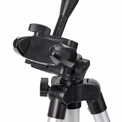 (iPhone スマホ用 三脚 固定ホルダー付き )小型 軽量 アルミ 4段 3way 三脚 CX-007-A シルバー