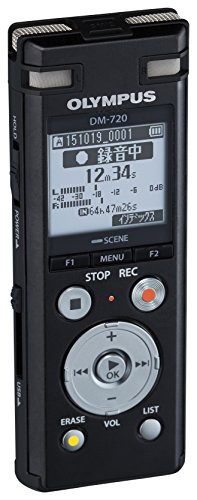 OLYMPUS ICレコーダー VoiceTrek 4GB MicroSD対応 DM-720 ブラック DM-720 (品)