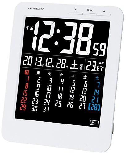 ADESSO(アデッソ) 目覚まし時計 デジタルカレンダー 電波時計 六曜 温度 湿(品)