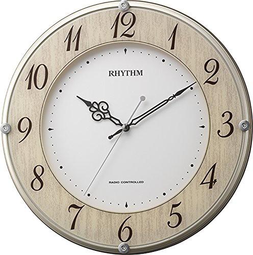 掛け時計 電波時計 静音 ライブリーナチュレ 木目仕上げ リズム時計 8MY506(未使用の新古品)