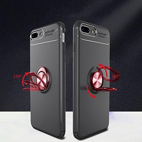 Newseego iPhone 7 Plusケース/iPhone 8 Plusケタンドフィット磁気自動車マウント_ブラック+レッド