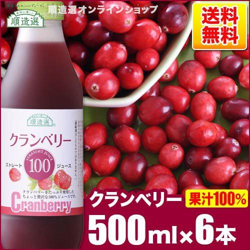 順造選 クランベリー100(果汁100%ストレートクランベリージュース)500ml×6本入