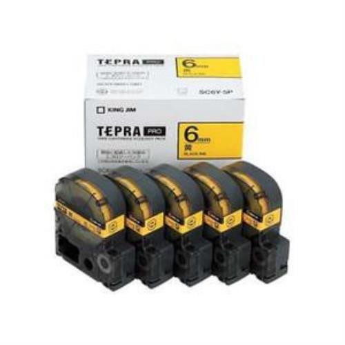 キングジム SC6Y-5P テプラPRO テープカートリッジ 黄/黒文字 6mm 5本セット