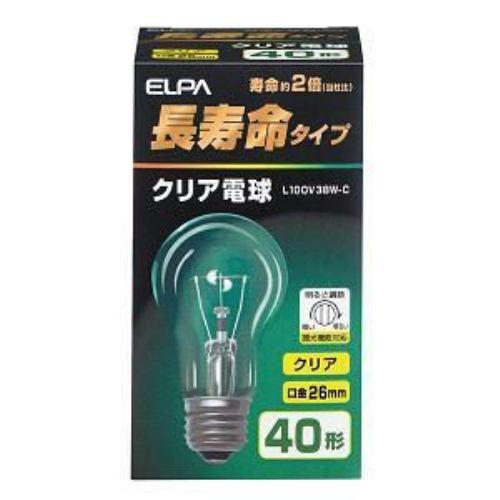 朝日電器 L100V38W-C ELPA(エルパ) 長寿命クリア電球 (全光束460lm /クリア 口金E26)